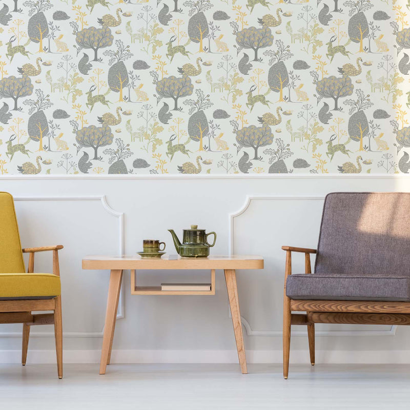 Woodland Animals Motif Childrens  Wallpaper | Yellow, Green, Grey & White