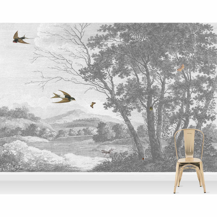 Etched Countryside Wallpaper Mural in Grey & White