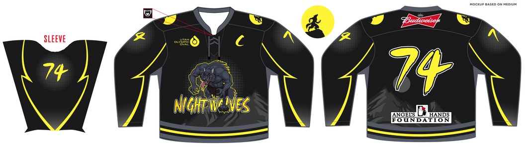 ADULT Angels Hands Classic Night Wolves Hockey Jersey