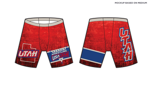 Men's 114J-SUB USA Wrestling Utah Red Compression Short