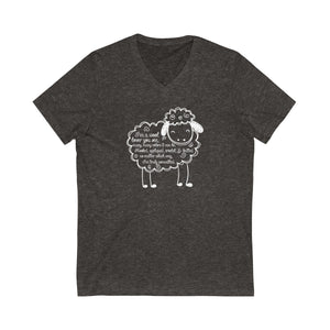 Wool Lover Sheep Poem - V-Neck Jersey Short Sleeve Tee