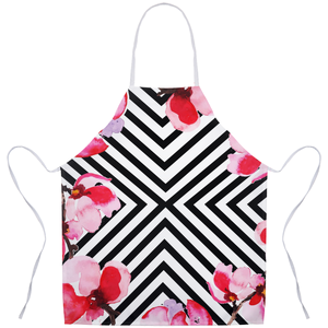 BEACHSIDE STYLIN' SUMMER BLACK & WHITE STRIPES - Kitchen or Grilling Aprons