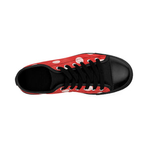 Women's Sneakers - Polka-Dot Fun - Red Grunge