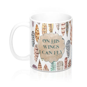 On His Wings I Can Fly  Feather Mugs