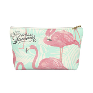 Hello Summer - Flamingo Teal Accessory Pouch w T-bottom