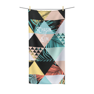 Chasin the Sun - Retro Triangle Palm Pattern - Summer Beach Towel