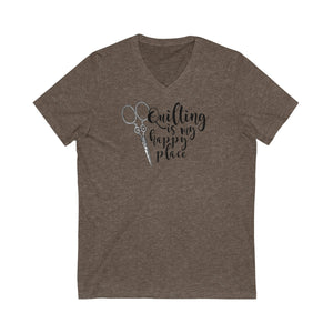 Quilting is My Happy Place - V-Neck Jersey Short Sleeve Tee