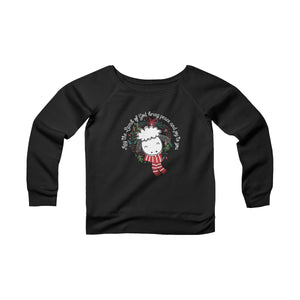 May the Lamb of God Bring Peace and Joy to You - Women's Fleece Wide Neck Christmas Sweatshirt