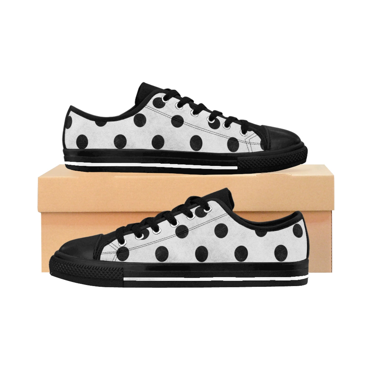 Women's Sneakers - Polka-Dot Fun - Charcoal Dots Grunge