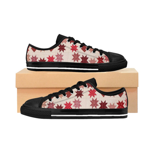 Women's Sneakers - Quilt Lovers Fun - Red and White Stars