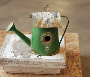 Vintage Garden Watering Can Birdhouse - Green