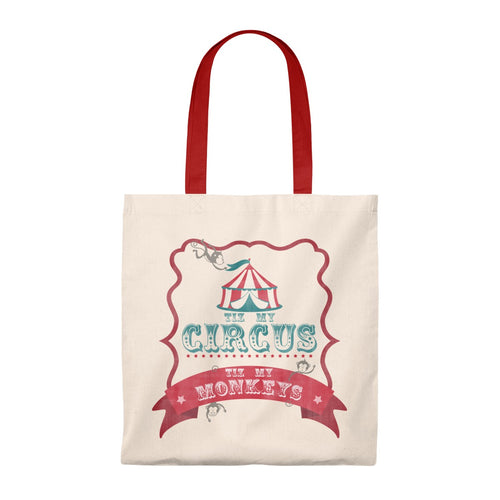 Vintage Circus Theme Tote Bag - Tiz My Circus Tiz My Monkeys