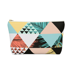 Chasin the Sun - Retro Triangle Palm Pattern Summer Accessory Pouch w T-bottom