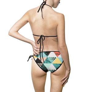 Chasin the Sun - Retro Triangle Palm Pattern - Women's Summer Bikini Swimsuit