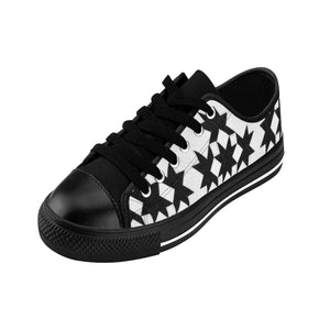 Women's Sneakers - Quilt Lovers Fun - Black and White Stars