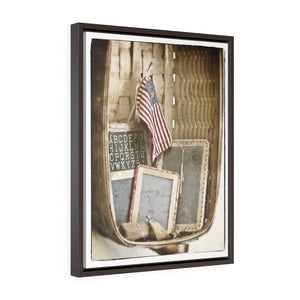 Vintage Americana Wall Art - Vertical Framed Premium Gallery Wrap Canvas