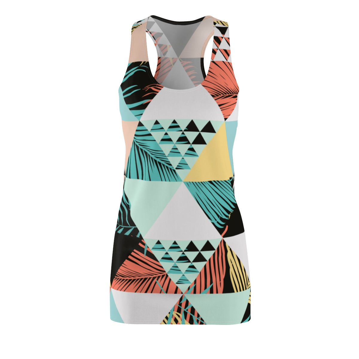 Chasin the Sun - Retro Triangle Palm - Women's Cut & Sew Racerback Summer Beach Cover Up