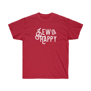 Sew Happy Thimble  T-Shirt - White Text