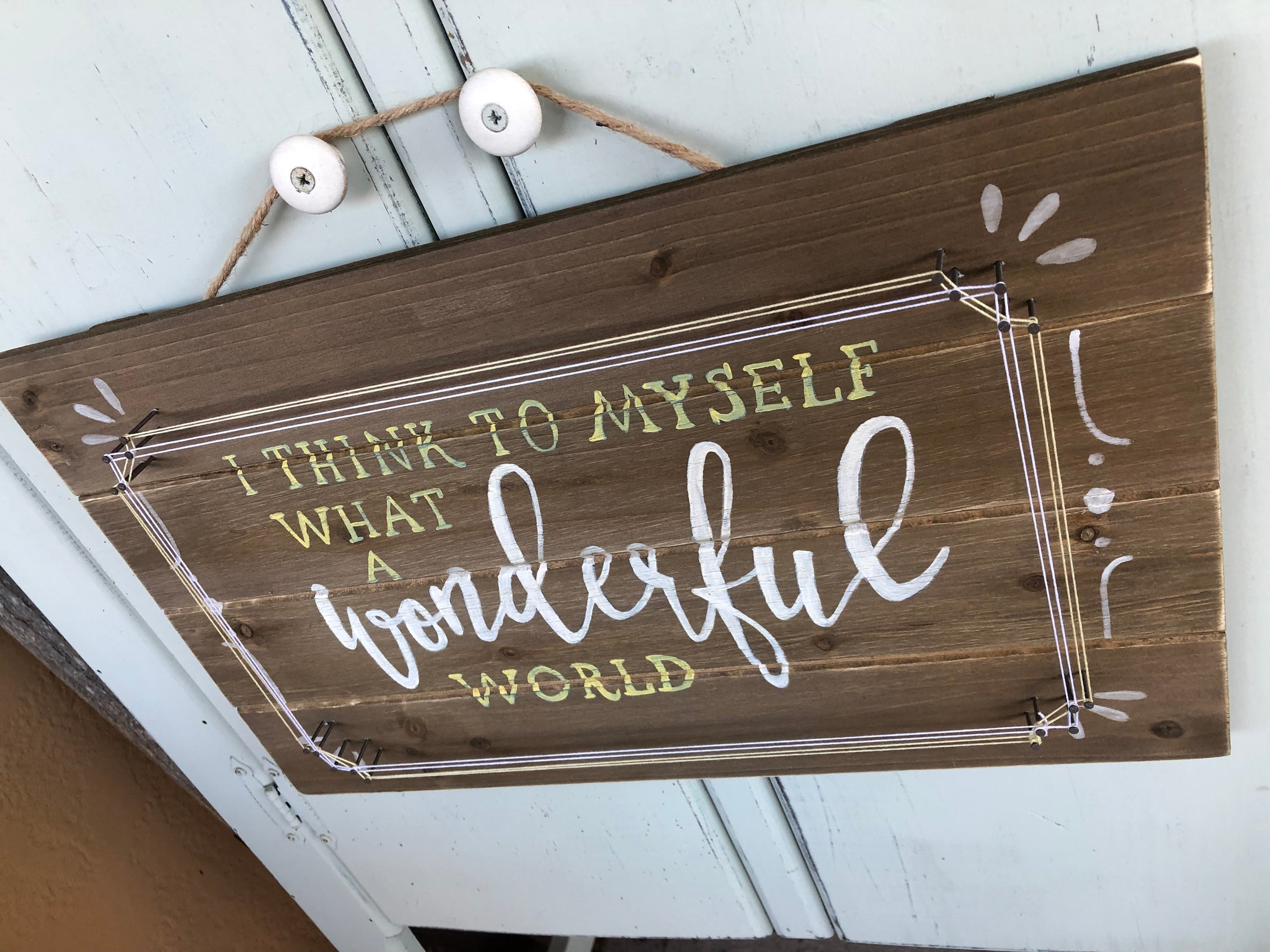 Wonderful World String Art Sign