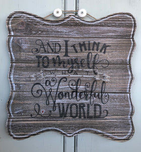 What a wonderful world- String Art Plaque