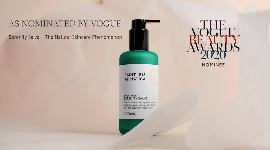 saint iris lotion serenity salve nominated in the vogue beauty awards 2020 as the natural skincare phenomenon