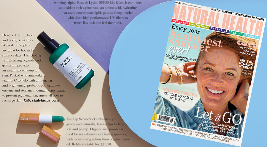 Wake-Up Droplets face and body serum featured in Natural Health magazine must-have holiday beauty