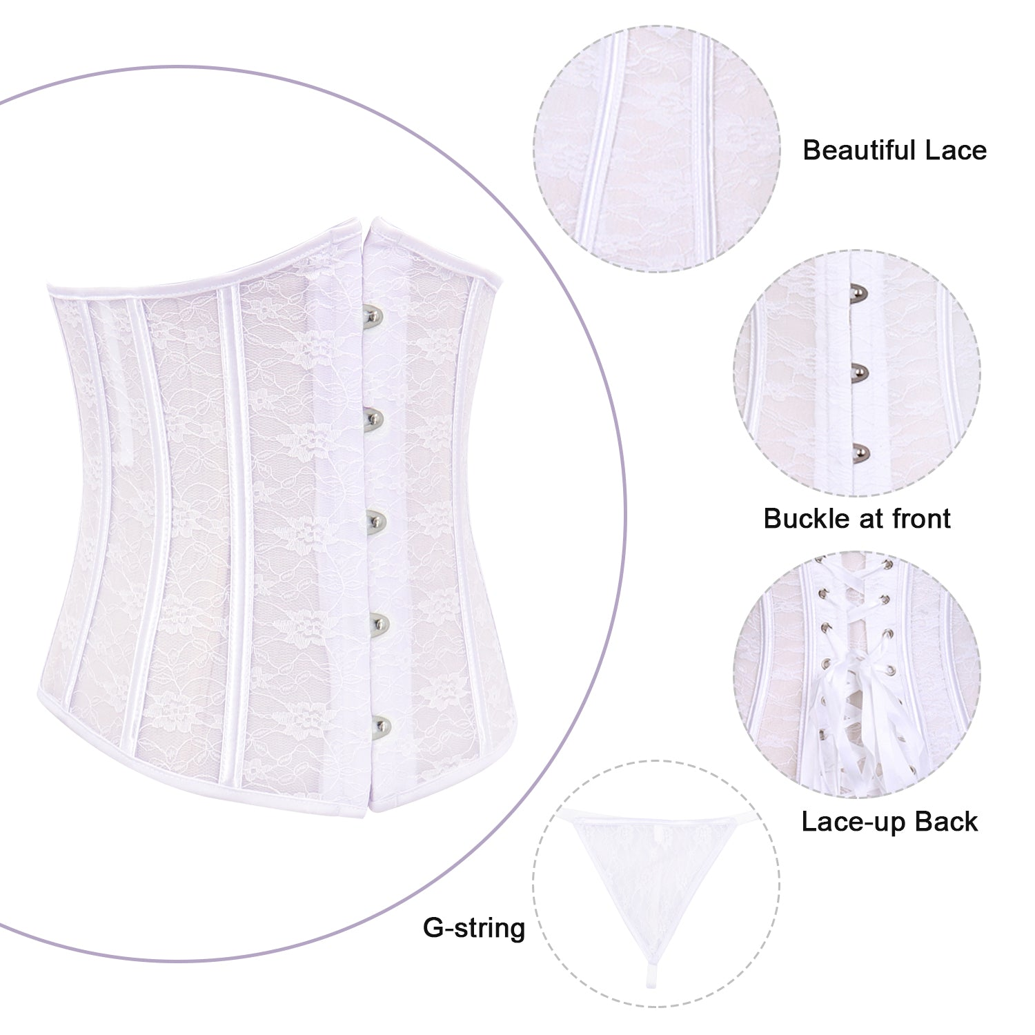 2be591d33c7 Underbust Corset Belt Brocade Lingerie Tops White – Bargoos Fashion