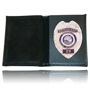 Boston Leather Book Style Badge Wallet Vertical Card Slots Soft 165