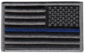 Thin Blue Line Flag Patch w Hook REVERSE Blue Line Innovations