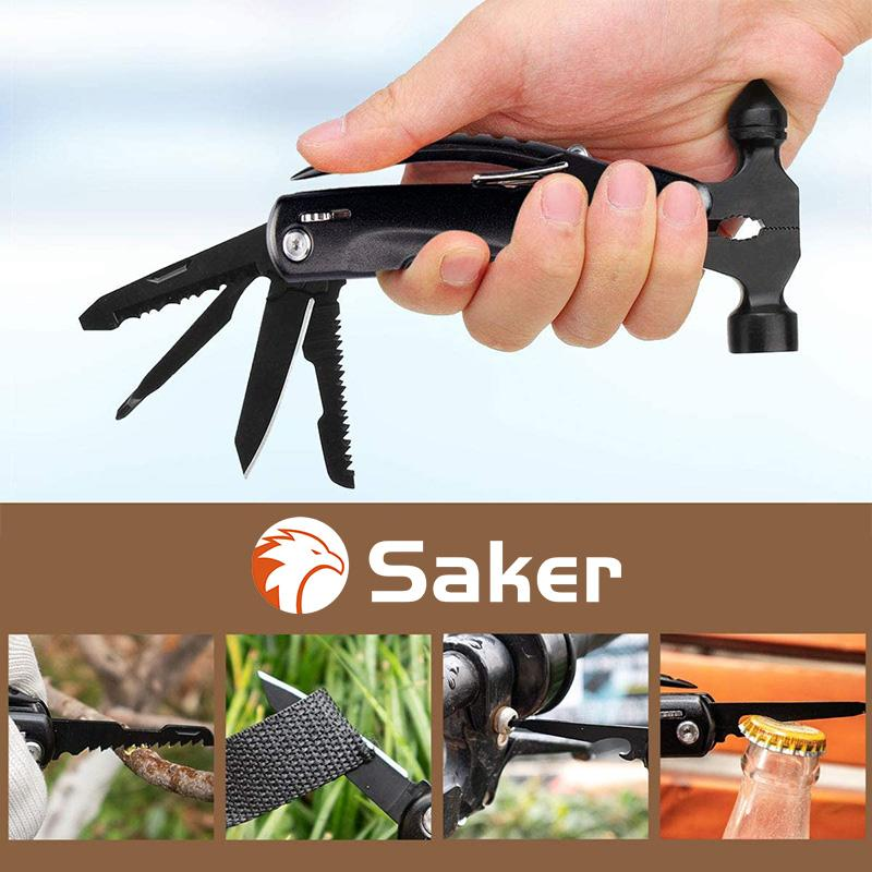 Saker Multi-Functional 12 in 1 Mini Hammer Camping Gear Survival Tool