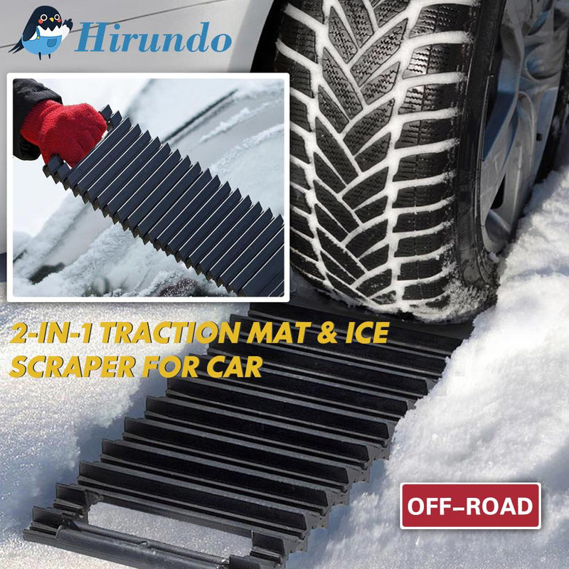 Hirundo 2-in-1 Traction Mat & Ice Scraper for Car