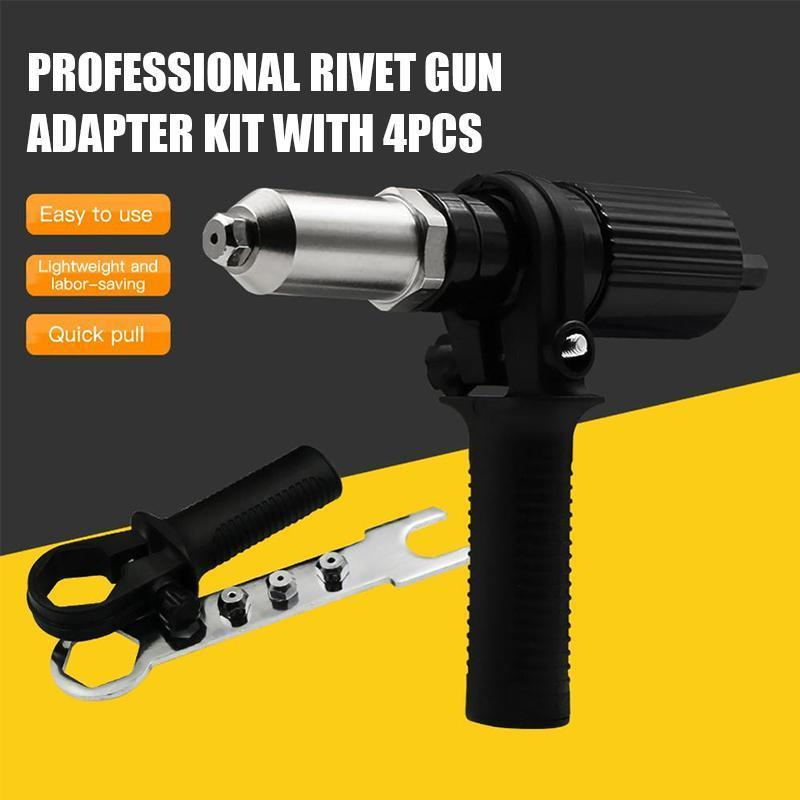 Professional Rivet Gun Adapter Kit (With 4Pcs Different Nozzle Bolts)