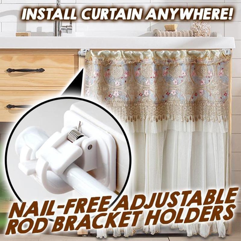 Nail-free Adjustable Rod Bracket Holders (2pcs)