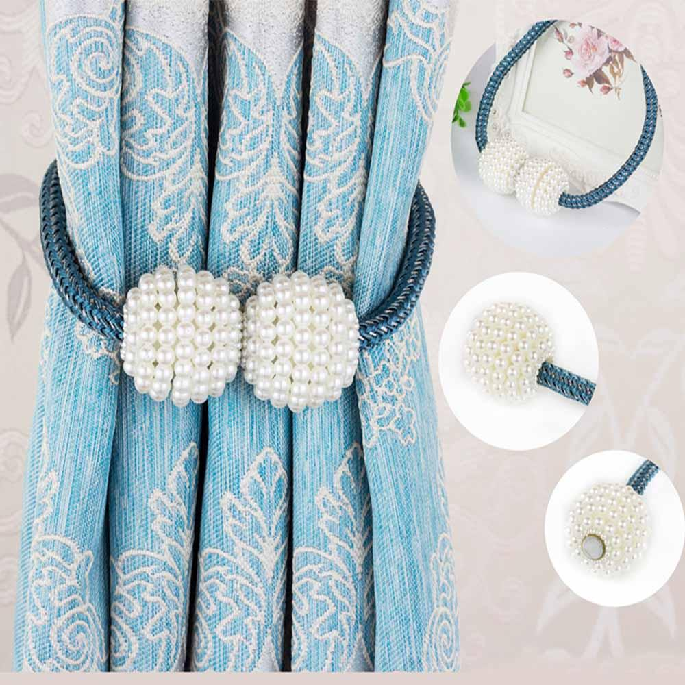 Image result for magnetic pearl curtain tie backs