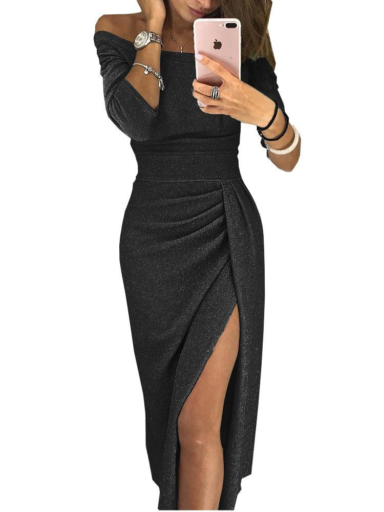NEW Sexy Plain Boat Neck Three Quarters Sleeve Bodycon Maxi Dress