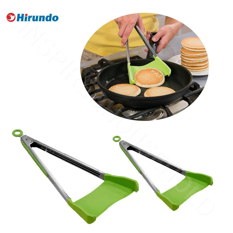 Hirundo 2 in 1 Kitchen Spatula and Tongs - 1 pair ( Large&Small)
