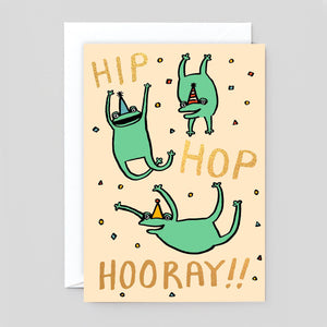 Alice Bowsher for Wrap | Hip Hop Hooray Frogs Card