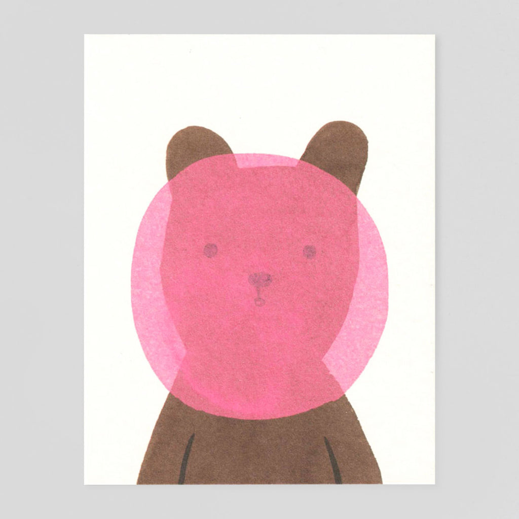 Bubblegum Bear Card by Lisa Jones Studio - Colours May Vary