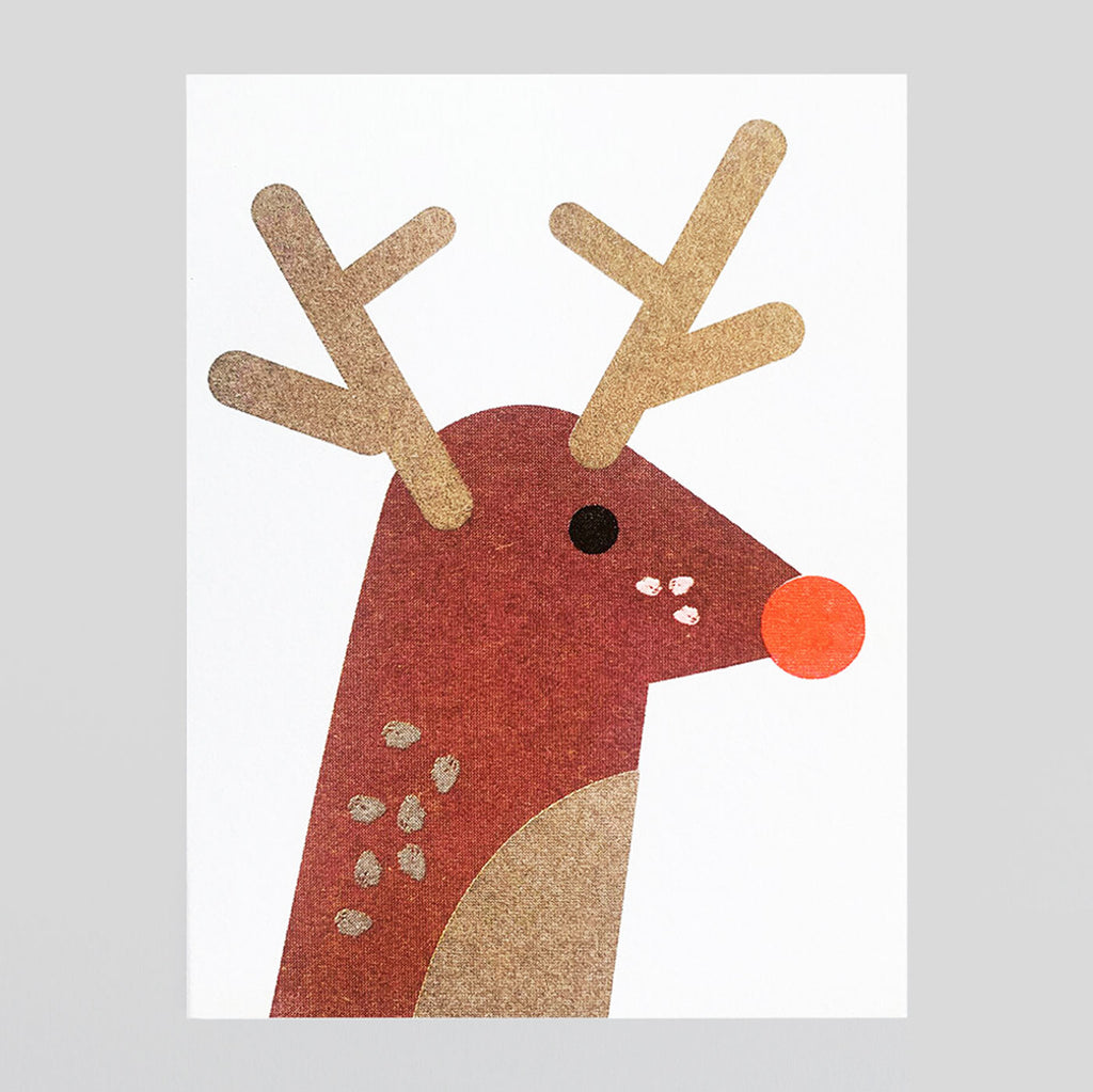 Scout Editions - Christmas Reindeer Mini Riso Card | Colours May Vary