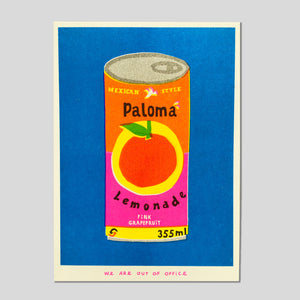 A Can Of Paloma Lemonade Riso Print - We Are Out Of Office.