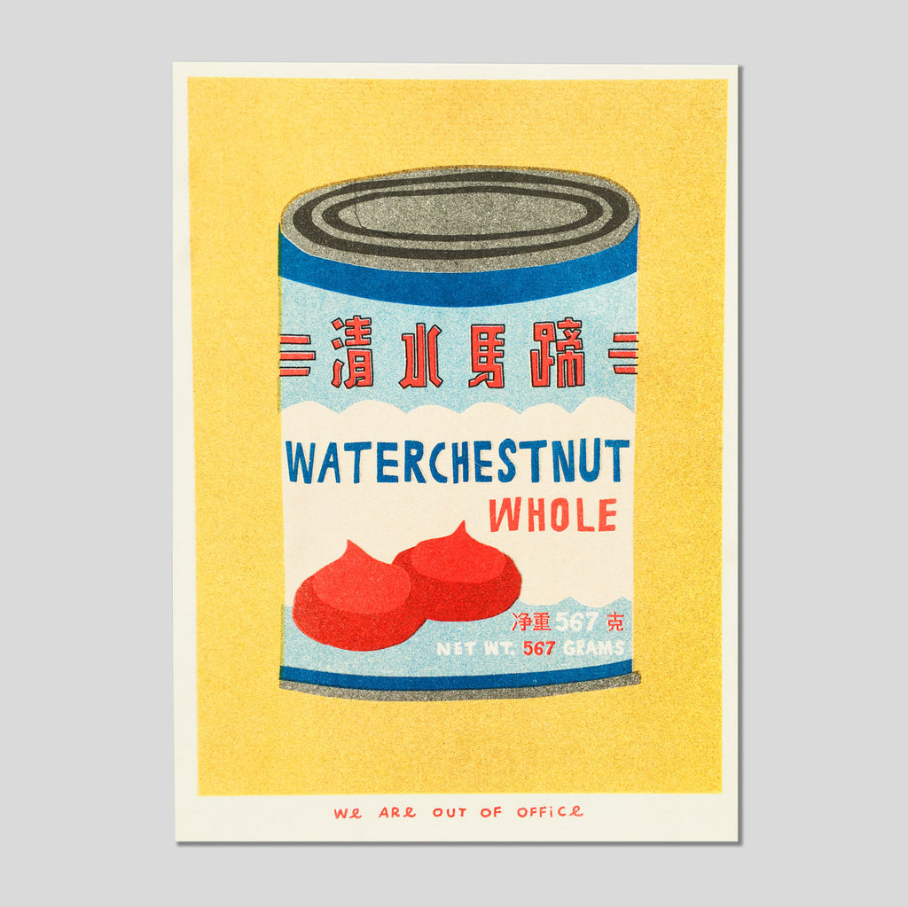 A Can Of Water Chestnuts Riso Print - We Are Out Of Office.