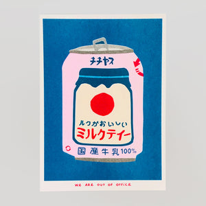 Japanese Can of Milky Tea Riso Print - We Are Out Of Office