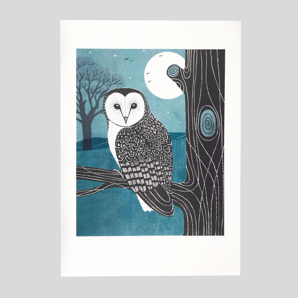 Shapwick Owl Risograph print - Frances Castle - Clay Pipe Music - Colours May Vary