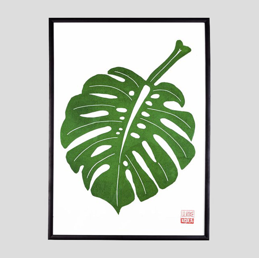 Monstera Lino Print (A3) by Ulrike Rost / StudioWald. - Colours May Vary