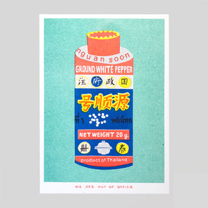 A Can Of Ground White Pepper Riso Print - We Are Out Of Office. - Colours May Vary