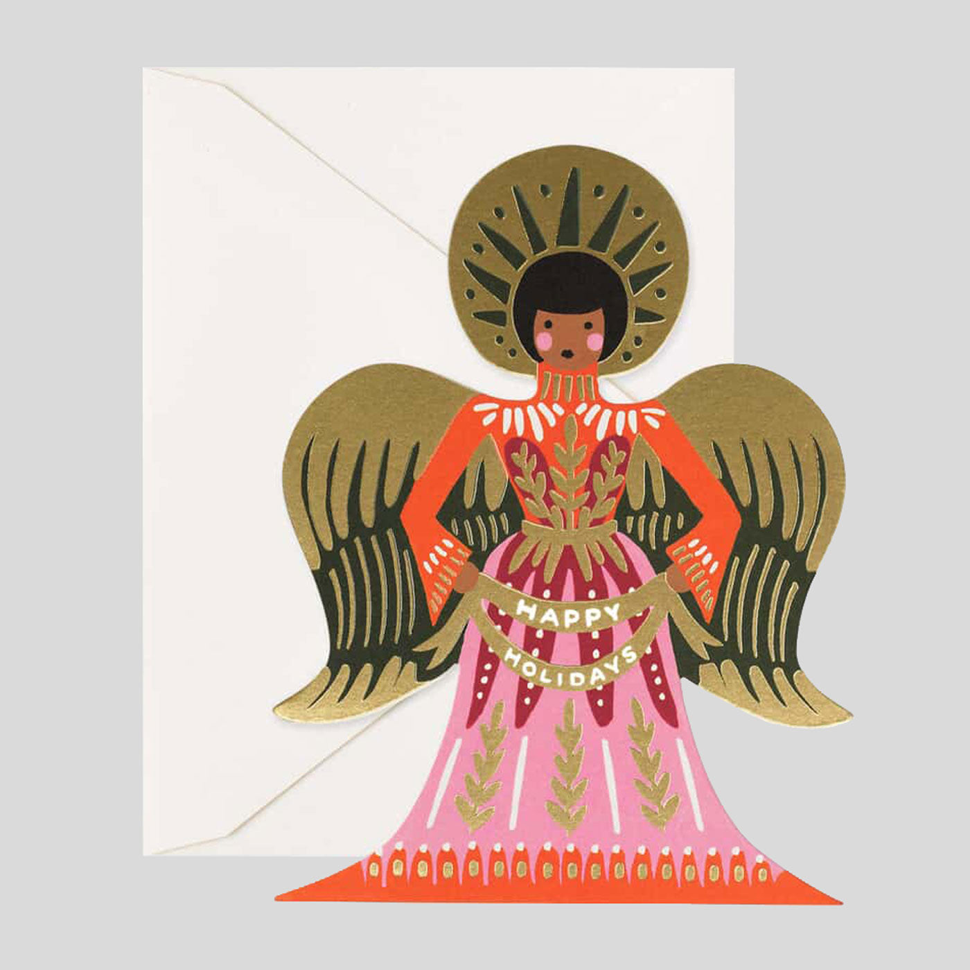 Rifle Paper Co. |  Happy Holidays Angel Card | Colours May Vary