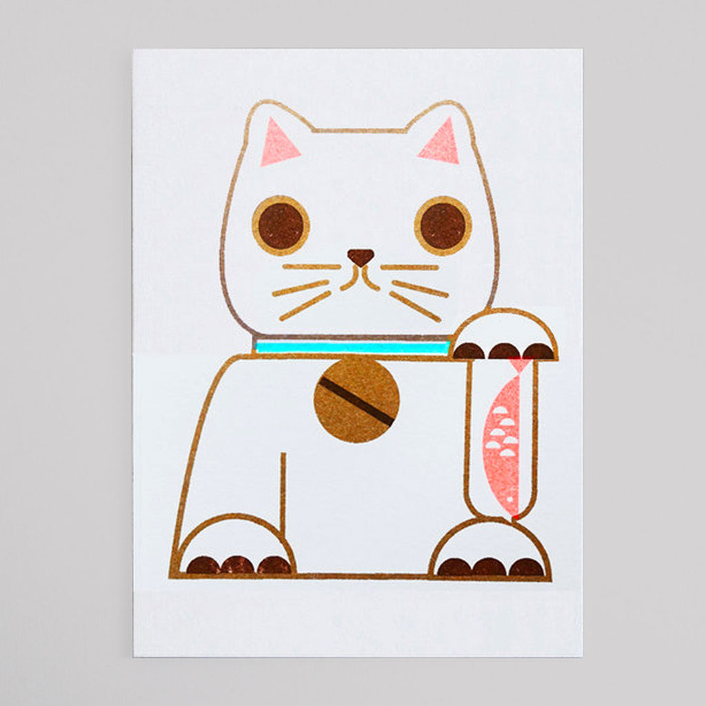 Scout Editions - Lucky Cat Mini Riso Card - Colours May Vary