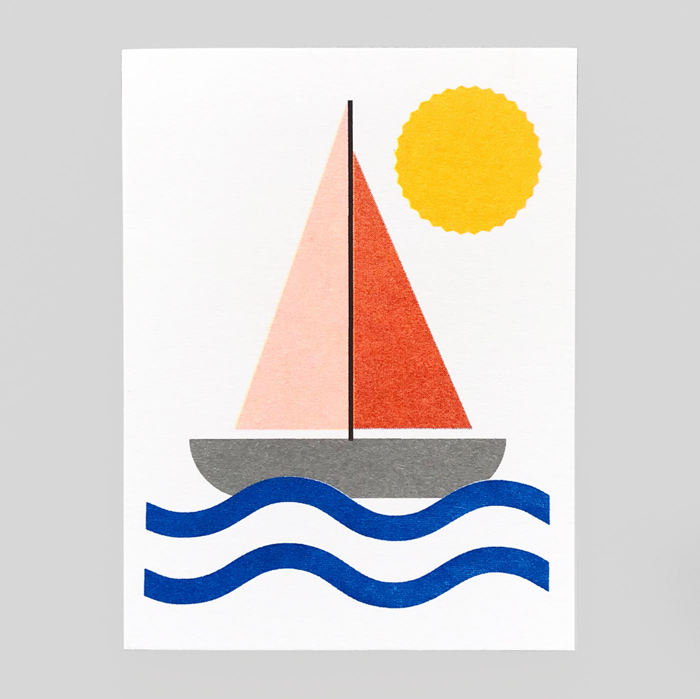 Scout Editions - Sailboat Mini Riso Card. - Colours May Vary