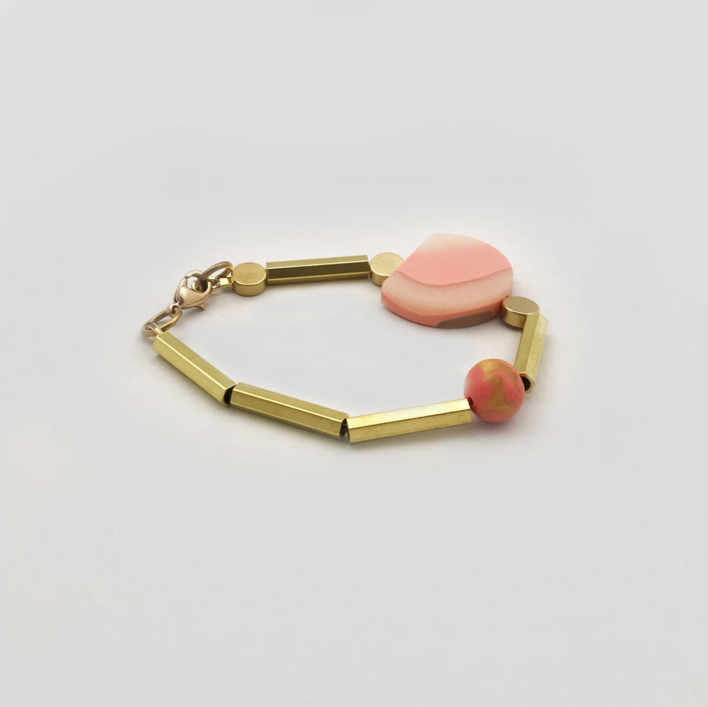 Loela 'Shapes' Bracelet Peach & Brass