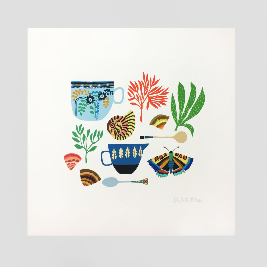 Shells, Cups & Butterfly Print by Brie Harrison